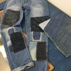 Sending these jeans back to their owners with Sashiko stitching added by me