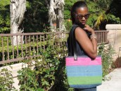 Boro Hand Stitching -Denim and Pink and Green - Leather handles