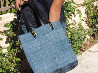 Denim and Boro Hand Stitching with leather handles