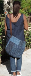 Messenger Bag - Denim and Boro Hand Stitching with Leather Belt Handles