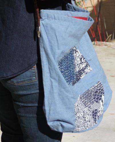 Large handbag with Boro Hand Stitching
